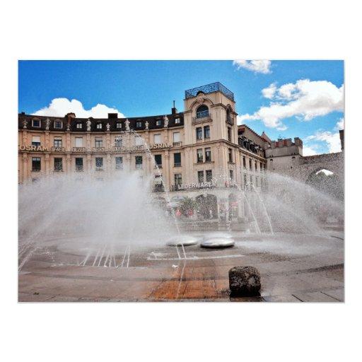 "Munchen fountain 6.5"" x 8.75"" invitation card"