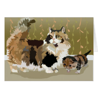 Munchkin Mom and Kitten note card