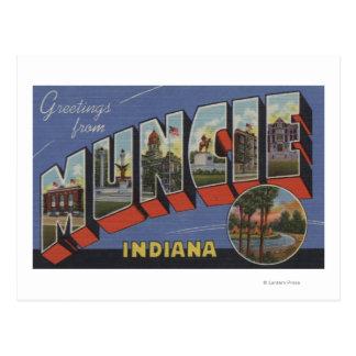 Muncie, Indiana - Large Letter Scenes Postcard