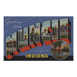 Muncie, Indiana - Large Letter Scenes Poster