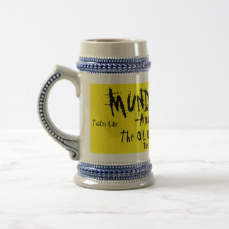 MUNDER THUG-Amber/Logger-The O'L ONE, TWO PUNCH 18 Oz Beer Stein