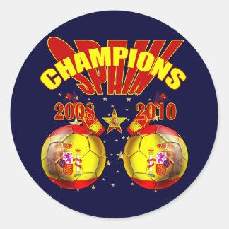 Mundo 2008 de España Europa de los campeones 2010 Pegatina Redonda