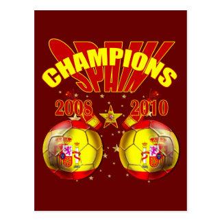 Mundo 2008 de España Europa de los campeones 2010 Tarjetas Postales