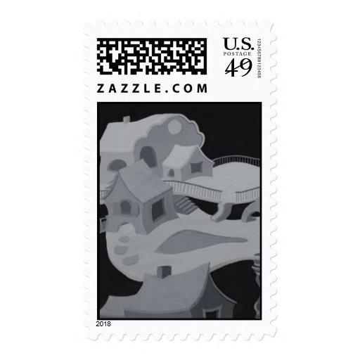 Mundo abstracto timbre postal