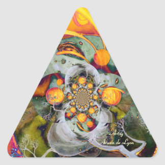 Mundo alterno 1 pegatina triangular