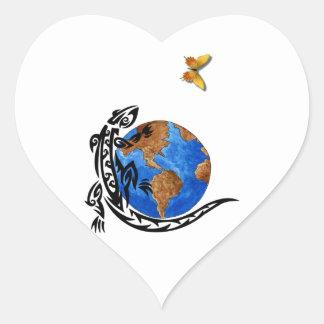 Mundo animal pegatina en forma de corazón