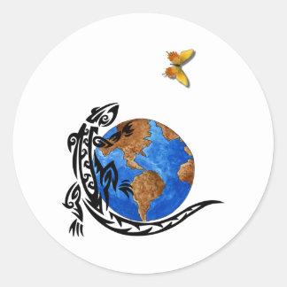 Mundo animal pegatina redonda