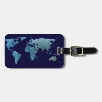 Mundo azul fresco etiqueta de maleta