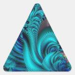 Mundo azul pegatina de triangulo personalizadas