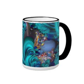 Mundo azul taza de café
