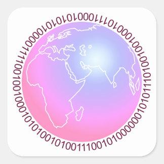 Mundo binario calcomania cuadradas personalizadas