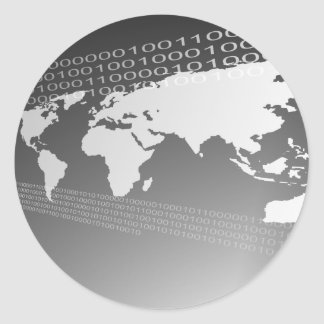 Mundo binario etiquetas redondas