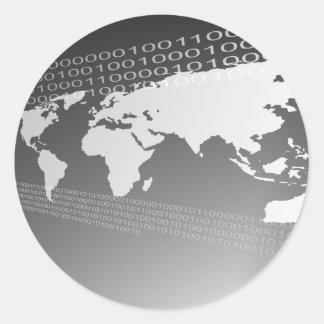 Mundo binario pegatina redonda