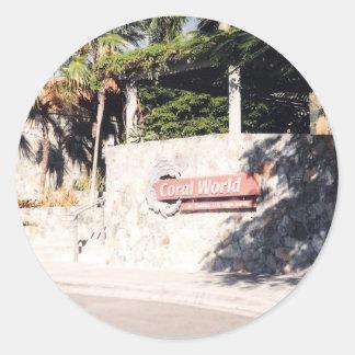 Mundo coralino, St Thomas Pegatina Redonda