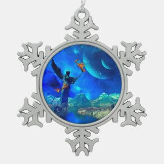 Mundo de fantasía adorno de peltre en forma de copo de nieve