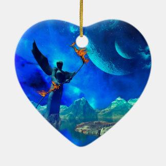 Mundo de fantasía adorno de cerámica en forma de corazón