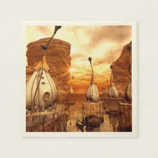 Mundo de fantasía en la puesta del sol servilletas de papel