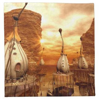 Mundo de fantasía impresionante en la puesta del servilletas de papel