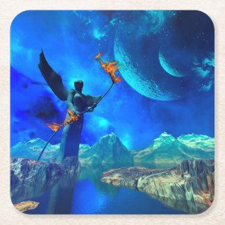 Mundo de fantasía posavasos de cartón cuadrado