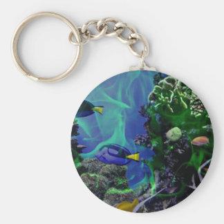Mundo de fantasía subacuático de pescados llavero redondo tipo pin