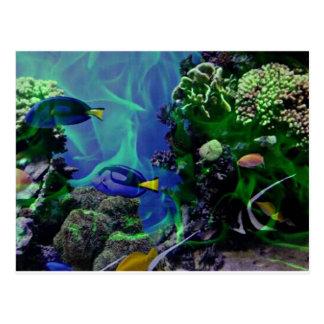 Mundo de fantasía subacuático de pescados tarjetas postales