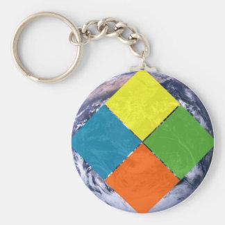 Mundo de GeoCache Llavero Redondo Tipo Pin