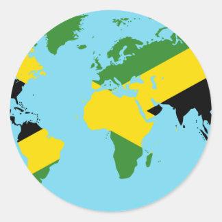 Mundo de Jamaica - mapa jamaicano de la bandera Pegatina Redonda