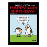 Mundo de la 40.a tarjeta de cumpleaños de la vaca