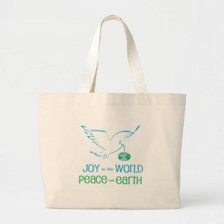 Mundo de la alegría y de la paz bolsa tela grande
