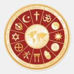 Mundo de la fe pegatina redonda