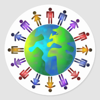 Mundo de la gente pegatinas redondas