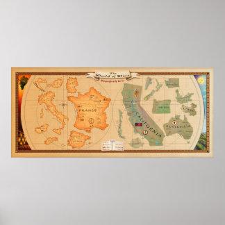 Mundo de la impresión del poster del mapa del vino