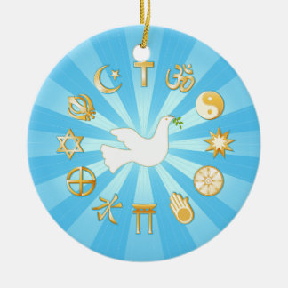 Mundo de la paz adorno navideño redondo de cerámica