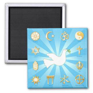 Mundo de la paz imán cuadrado