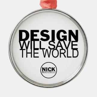 Mundo de la reserva del diseño adorno redondo plateado