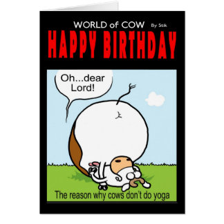 ¡Mundo de la tarjeta de cumpleaños de la vaca - oh