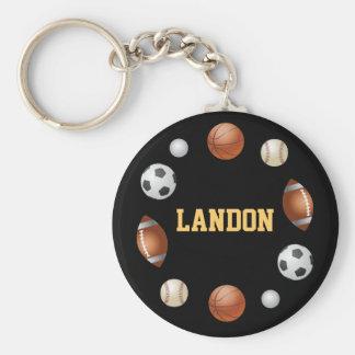 Mundo de Landon del llavero de los deportes - negr