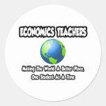Mundo de los profesores de la economía… un mejor etiquetas redondas