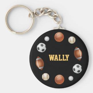 Mundo de Wally del llavero de los deportes - negro