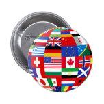 Mundo del botón de las banderas pin