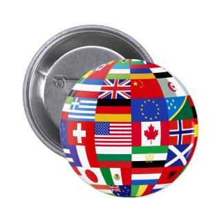 Mundo del botón de las banderas pin redondo de 2 pulgadas