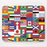 Mundo del cojín de ratón de las banderas tapete de ratones