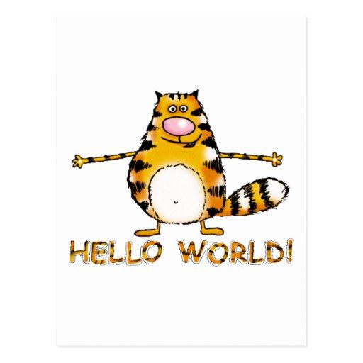 Mundo del gato hola postal