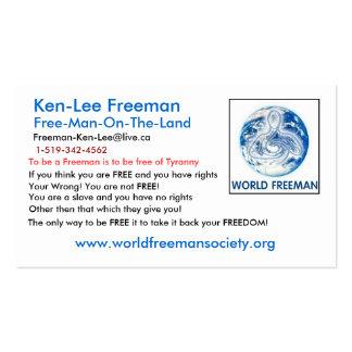 MUNDO del globo de Freeman, Ken-Lee Freeman, www.w Tarjetas De Visita