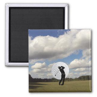 Mundo del golf imán cuadrado
