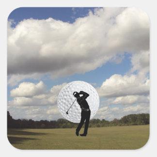 Mundo del golf pegatina cuadrada