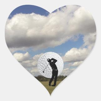 Mundo del golf pegatina en forma de corazón