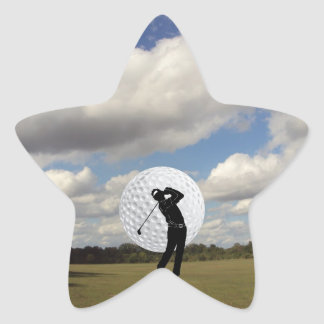 Mundo del golf pegatina en forma de estrella