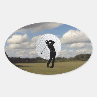 Mundo del golf pegatina ovalada