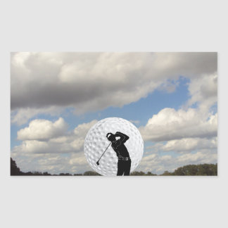 Mundo del golf pegatina rectangular